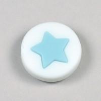 Silikonpärla med liten stjärna, ljusblå