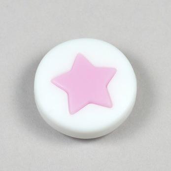 Silikonpärla med liten stjärna, ljusrosa