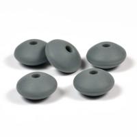 Silikonlinser 12mm, mörkgrå, 5-pack