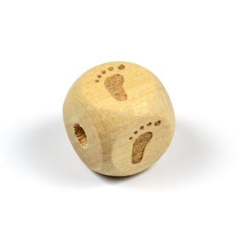 Obehandlad träpärla med babyfötter, 12mm