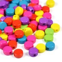Platta akrylpärlor färgmix, 8mm