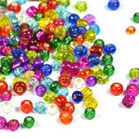6/0 Seed beads, silverlined mix, 4mm