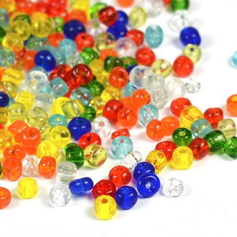 6/0 Seed beads, transparent mix, 4mm