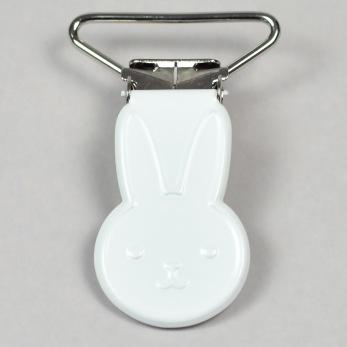 Metallclips kanin, vit
