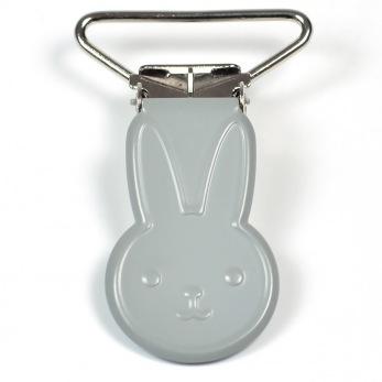 Metallclips kanin, grå
