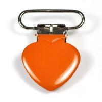 Metallclips hjärta, orange