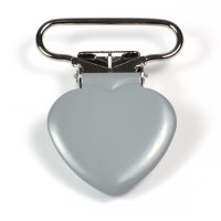 Metallclips hjärta, grå