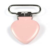 Metallclips hjärta, puderrosa