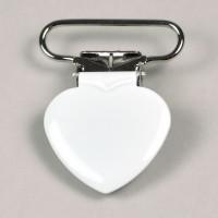 Metallclips hjärta, vit