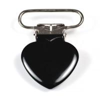 Metallclips hjärta, svart