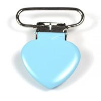 Metallclips hjärta, ljusblå