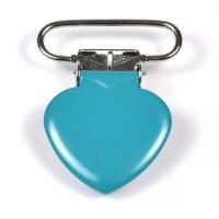 Metallclips hjärta, turkos