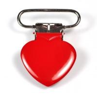 Metallclips hjärta, röd