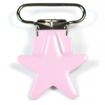 Metallclips stjärna, ljusrosa