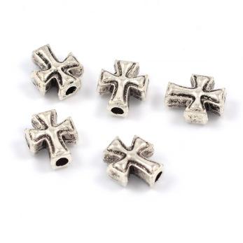 Kors i metall, antiksilver, 8x10mm