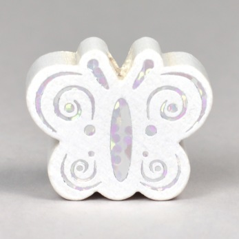 Motivpärla glitterfjäril, vit