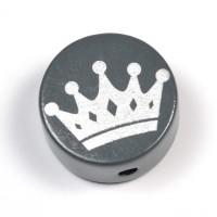Motivpärla silverkrona, mörkgrå