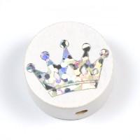 Motivpärla glitterkrona, vit