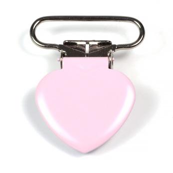 Metallclips hjärta, ljusrosa