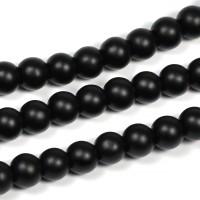 Syntetiska black stone pärlor, mattsvart, 6mm
