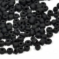 6/0 Seed beads, frostad mattsvart, 4mm