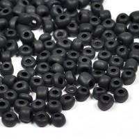 6/0 Seed beads, frostad svart, 4mm