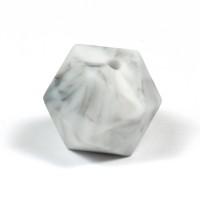 Kantig silikonpärla, 16mm, marmor