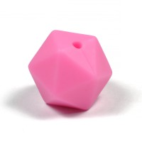 Kantig silikonpärla, 16mm, knallrosa