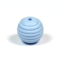 Räfflad silikonpärla 15mm, ljusblå