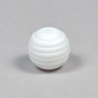Räfflad silikonpärla 15mm, vit