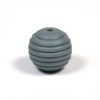 Räfflad silikonpärla 15mm, mörkgrå