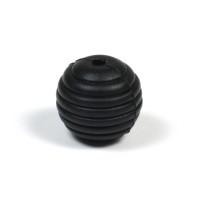 Räfflad silikonpärla 15mm, svart