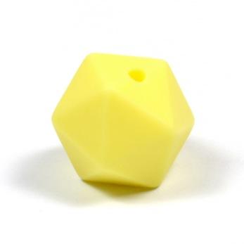 Kantig silikonpärla, 16mm, pastellgul