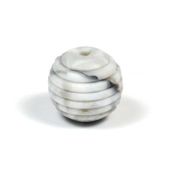 Räfflad silikonpärla 15mm, marmor