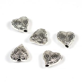 Hjärtan med spiral i metall, antiksilver, 8x9mm