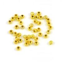 Runda metallpärlor, guld, 3mm