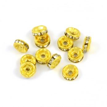 Rondeller med strass, guld-vit, 6mm