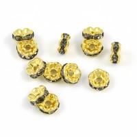 Eleganta rondeller med strass, guld-grå, 6mm