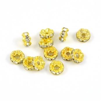 Eleganta rondeller med strass, guld-vit, 6mm