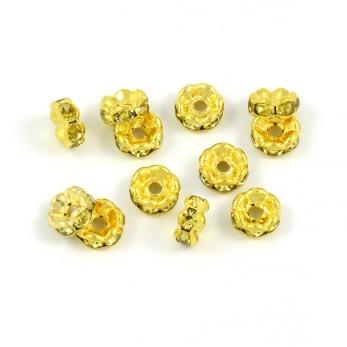 Eleganta rondeller med strass, guld-gul, 6mm