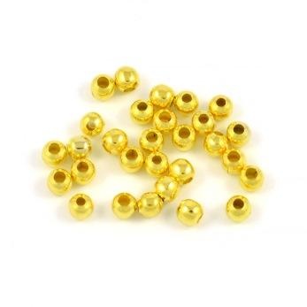 Runda metallpärlor, guld, 4mm