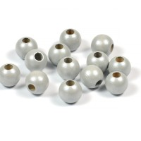 Träpärlor, pärlemor-ljusgrå, 8mm