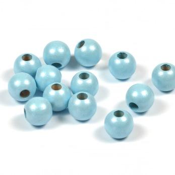 Träpärlor, pärlemor-ljusblå, 8mm