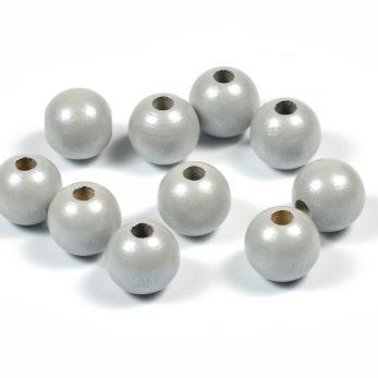 Träpärlor, pärlemor-ljusgrå, 10mm