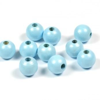 Träpärlor, pärlemor-ljusblå, 10mm