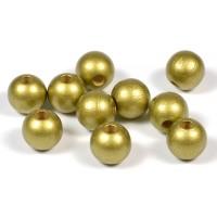Träpärlor guld, 10mm