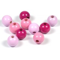Träpärlor rosa-mix, 10mm