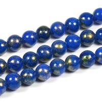 Jade pärlor, mörkblå med guldstoft, 6mm