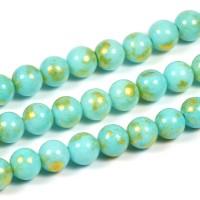 Jade pärlor, turkos med guldstoft, 6mm