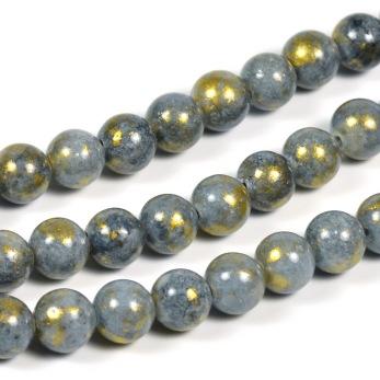 Jade pärlor, grå med guldstoft, 6mm